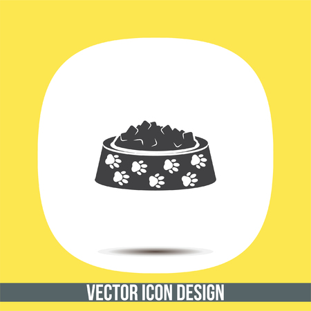animal feed: Pet food vector icon. Dog bowl with meal sign. Animal feed and nutrition symbol Illustration