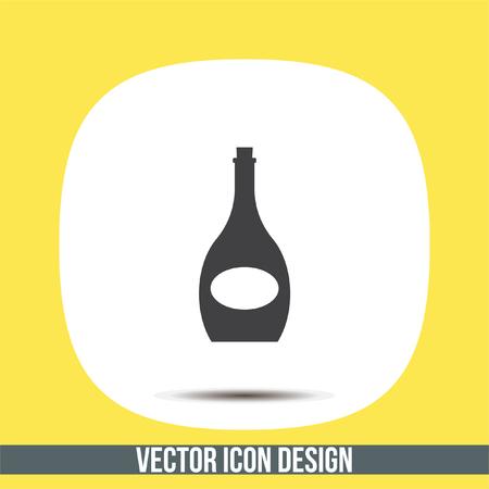 wineglass: Wine bottle vector icon. Alcoholic beverage symbol. Wineglass sign
