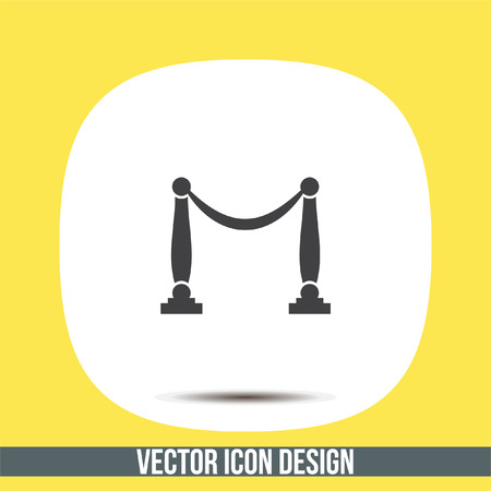 Queue barricade vector icon. Concert entrance sign. Museum rope and pole barrier symbol