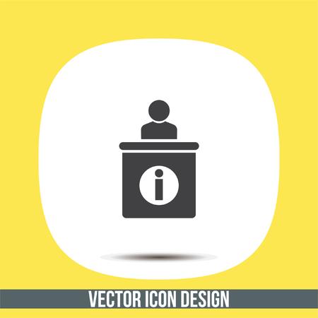 service desk: Information desk vector icon. Tourist desk sign. Call service symbol