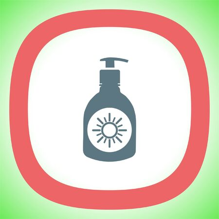 Sun lotion vector icon. Skin protection sign. Sunscreen and sunblock symbol Illustration