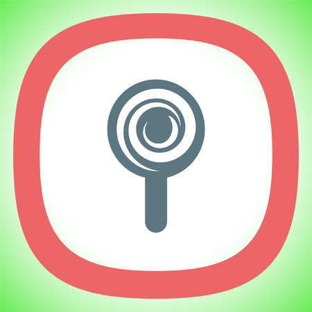 Candy cane vector icon. Sugar lolly pop symbol. Sweet lollypop sign. Illustration
