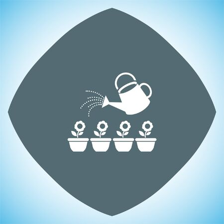 regando plantas: Regadera del jardín segmento de icono de vector. signo de la maceta. regar las plantas símbolo