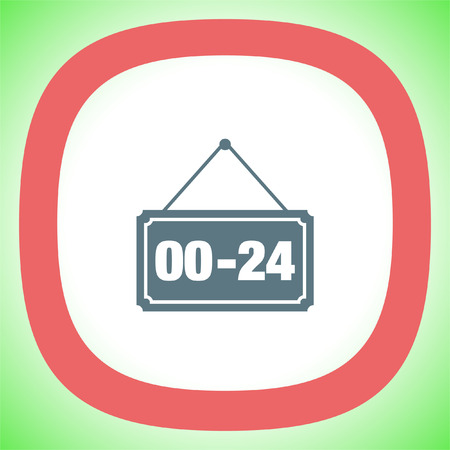 around the clock: Open 24 hours vector icon. Non stop working shop or service symbol. All day working time sign.