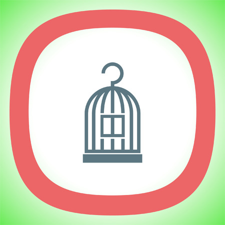 Bird Cage vector icon. Lost of freedom symbol. Trapped sign. Illustration