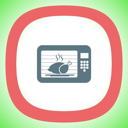 Microwave oven vector icon. Electric cooking device sign. Chicken roasting symbol