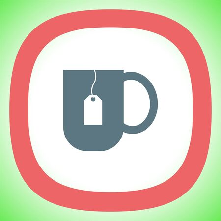 Tea cup vector icon. Hot drink sign. Teabag in a hot water mug symbol