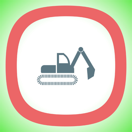 Dredge symbol vector icon. Bagger sign. Construction vehicle symbol