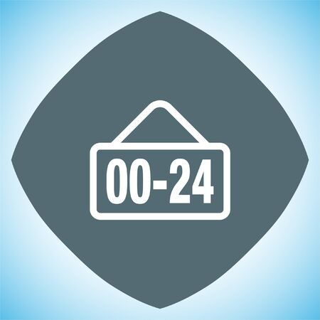 around the clock: Open 24 hours line vector icon. Non stop working shop or service symbol. All day working time sign.