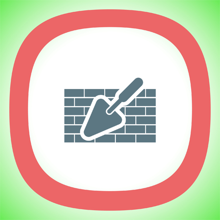 Trowel with brick wall vector icon. Construction mason equipment. Plastering spatula symbol