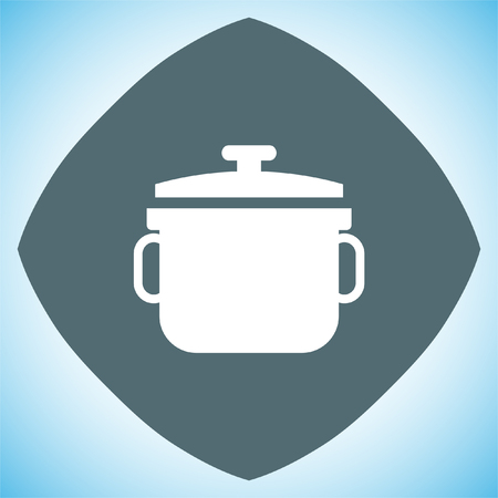 stew pot: Stew pot vector icon. Cooked meal sign. Homemade foot symbol