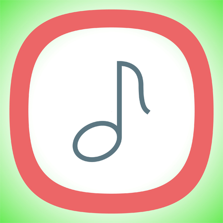 Music note line vector icon. Musical symbol. Melody sign