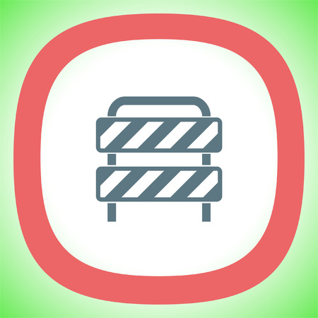 Traffic barrier vector icon. Road block sign. Safety barricade symbol.