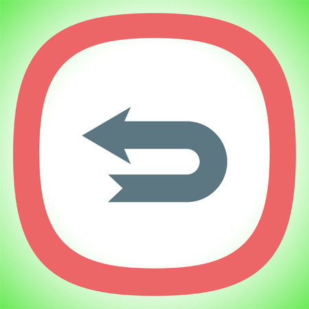 Arrow back vector icon. Direction sign line icon.