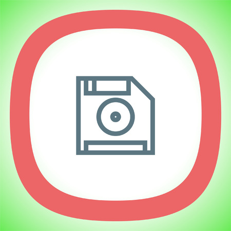 Save symbol line vector icon. Computer diskette sign. Floppy disk symbol. Retro data storage pictograph.