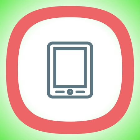 palmtop: Tablet sign line vector icon. Touchscreen pad symbol.