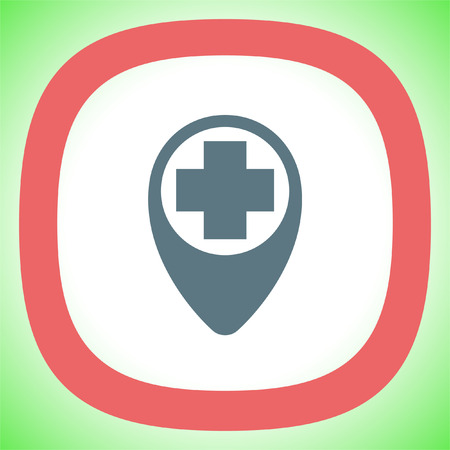 Street pin for first aid vector icon. Hospital sign. Medical care symbol