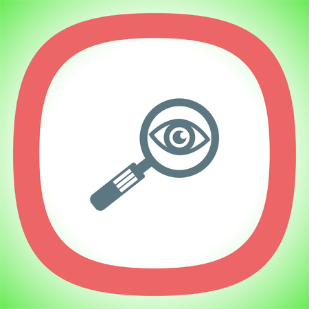 Magnifying glass with eye vector icon. Search sign. Zoom symbol. Find pictograph
