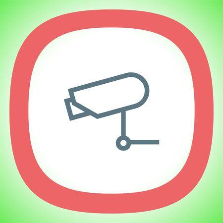Security camera sign line vector icon. Video monitoring icon. Camera cctv sign. Surveillance symbol.