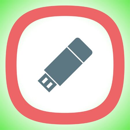USB stick vector icon. Flash memory sign. Removable data drive symbol