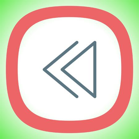 Backward button sign line vector icon. UI control Backward button.