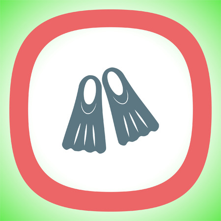 fins: Swimming fins vector icon. Diving gear sign. Underwater and ocean scuba dive symbol