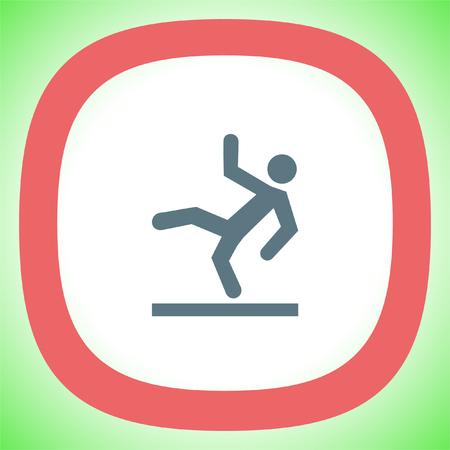 wet floor sign: Slippery wet floor vector icon. Warning sign. Attention dangerous symbol Illustration