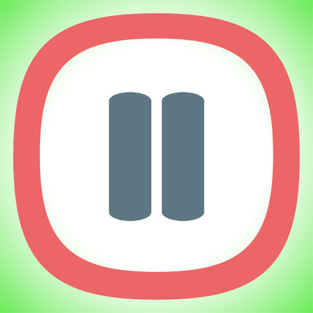 Pause button sign vector icon. UI control Pause button.