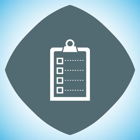 task list: Check list vector icon. Clip board sign.