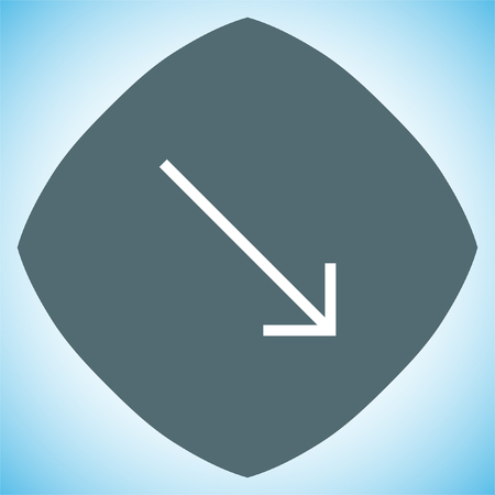 at the bottom of: Arrow bottom right sign line vector icon. Direction sign line icon. Illustration