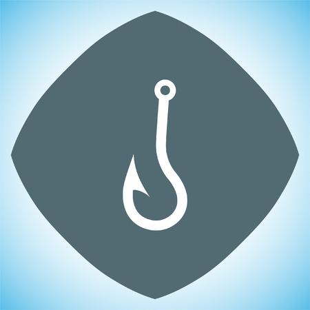 fishhook: Fishing hook vector icon. Fisherman equipment sign.