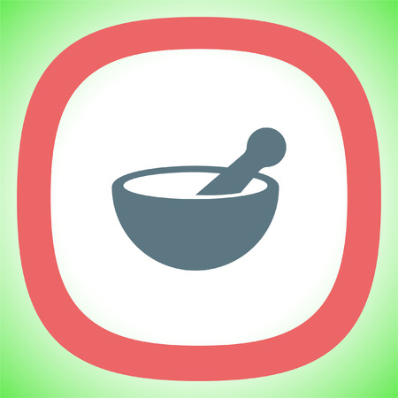 Mortar and pestle pharmacy vector icon. Pharmacy tool sign. Medical equipment symbol