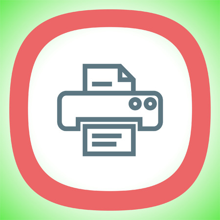 Printer sign line vector icon. Print document technology sign. Office printing device symbol. Illustration
