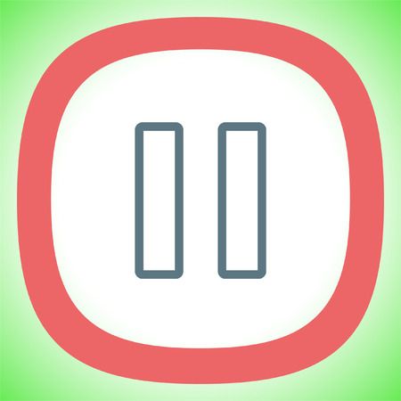 Pause button sign line vector icon. UI control Pause button.