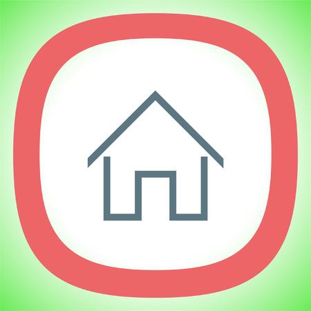 realestate: Home sign line vector icon. House building sign. Real-estate property symbol. Illustration