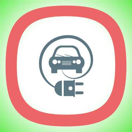 Electric Car Eco Friendly Concept vector icon. Clean energy symbol.