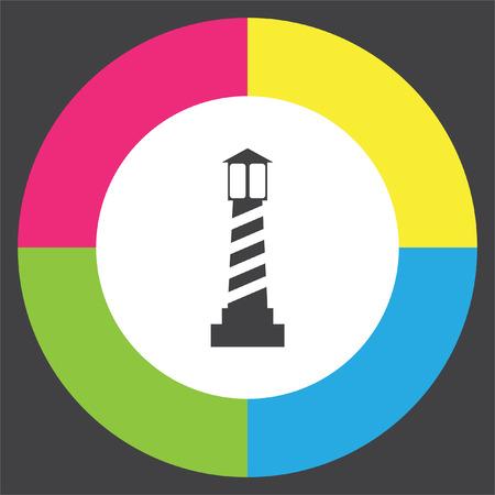 beacon light: Lighthouse vector icon. Beacon light sign. Sea light symbol