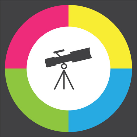 Telescope vector icon. Astronomy optical instrument sign. Spyglass symbol