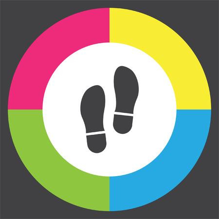 Footprint vector icon. Trail sign. Illustration