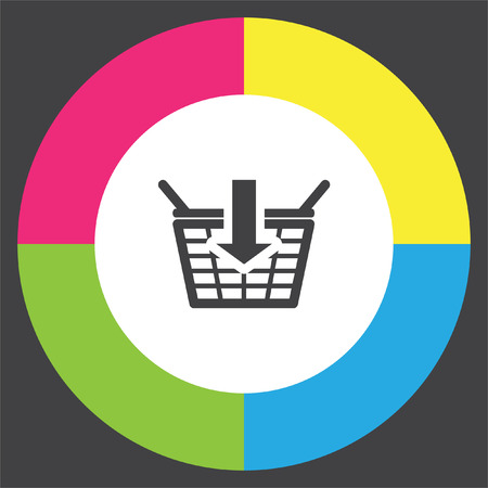 Add to shopping basket vector icon. On line shop sign. Web store purchase symbol.