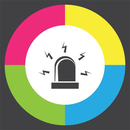 Alarm vector icon. Siren alarm symbol. Alert flashing light sign. Illustration