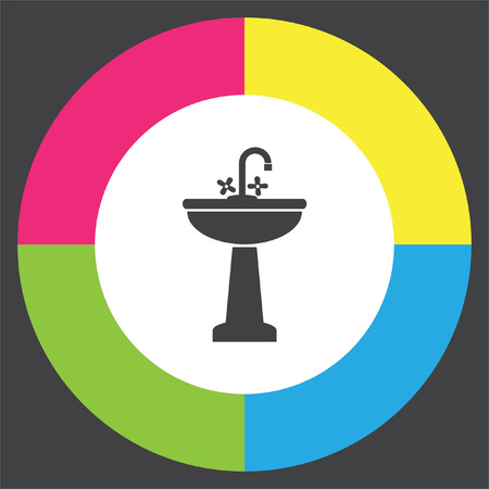 Washbasin vector icon. Sink sign. Bathroom symbol
