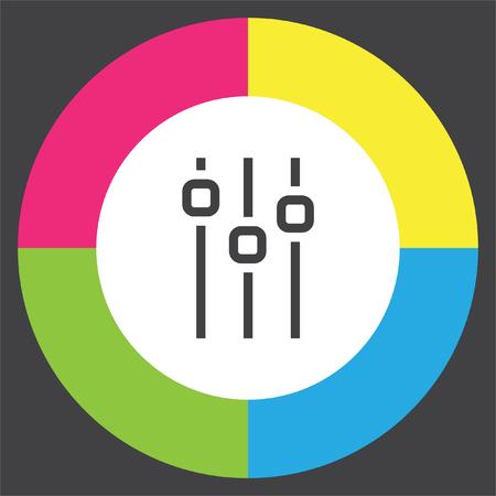 Sliders sign line vector icon. Settings vector icon. UI control media sound symbol. Illustration