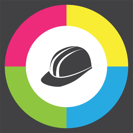 protective: Protective helmet vector icon. Construction head wear sign. Worker protective headgear symbol Illustration