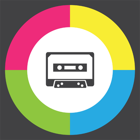 Music tape vector icon. Cassette sign. Audio recording symbol