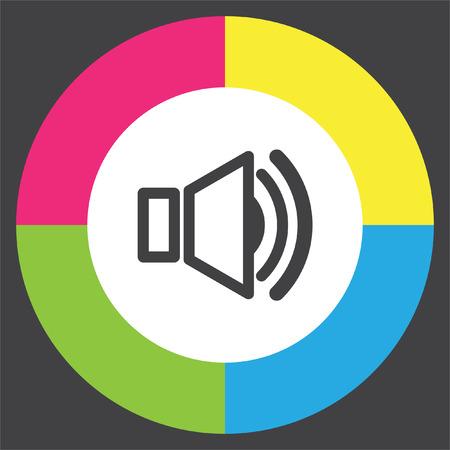 Speaker vector icon. Audio symbol. UI control sound sign. Music pictograph.