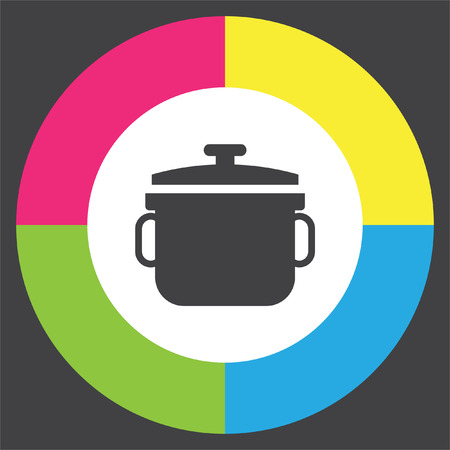 Stew pot vector icon. Cooked meal sign. Homemade foot symbol