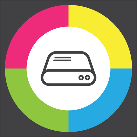 disco duro: línea de disco duro del icono del vector. signo de unidad de disco duro. símbolo de almacenamiento en disco duro. Vectores