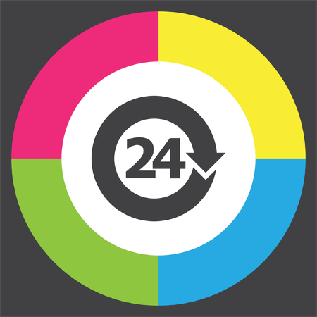 all day: Open 24 hours vector icon. Non stop working shop or service symbol. All day working time sign.