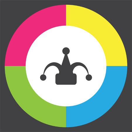 bobo: Carnaval del sombrero del bufón del icono del vector. signo de payaso. símbolo tonto del circo.
